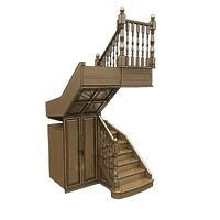 016-Лестница П-образная со встроенным шкафом